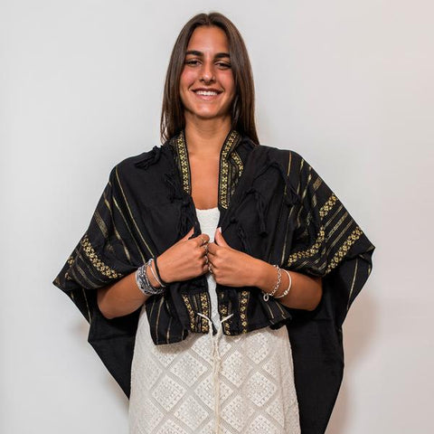 Wool Tallit - Gold on Black