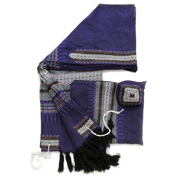 Wool Tallit - Grey With Gold on Dark Purple