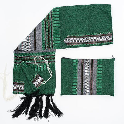 Wool Tallit - Grey with Gold on Green