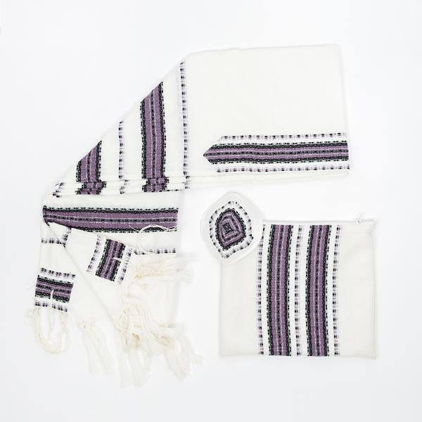 Wool Tallit - Purple and Black with Silver