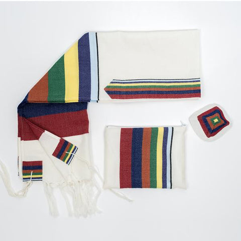 Wool Tallit - Rainbow Stripes