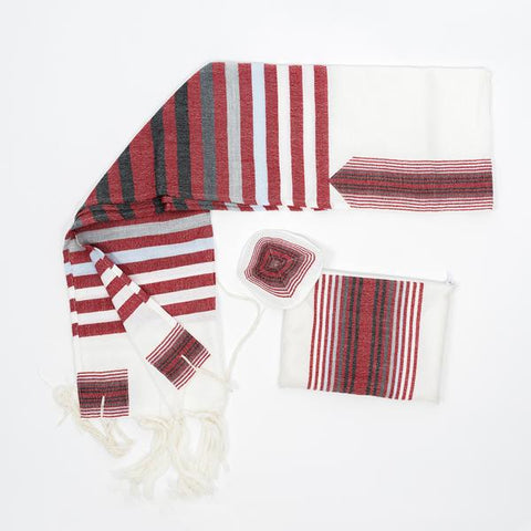 Wool Tallit - Red and Black Stripes