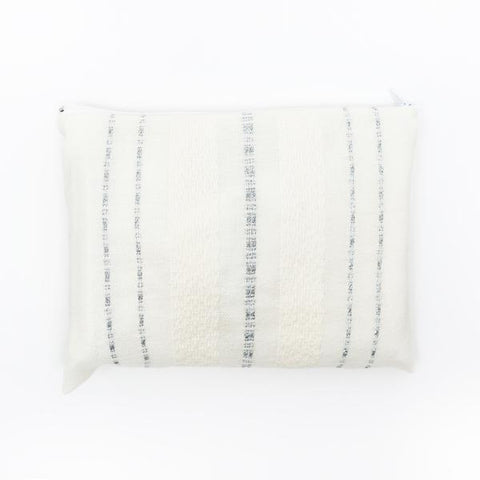 Wool Tallit - Silver Stripes on Off-White