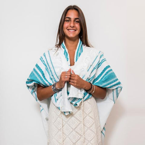 Wool Tallit - Turquoise and Silver