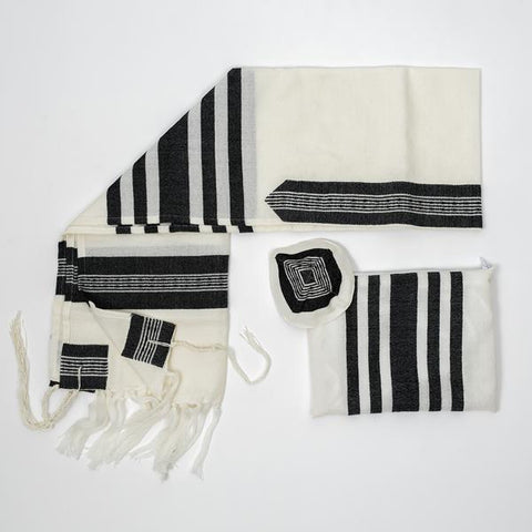 Wool Tallit - Wide Black stripes
