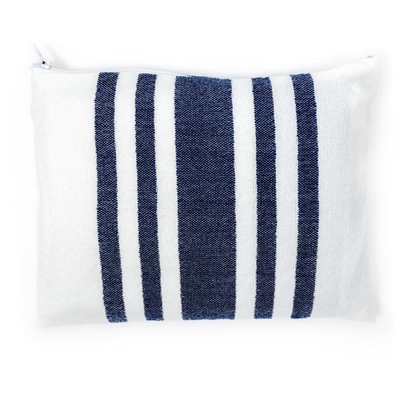 Wool Tallit - Wide Blue stripes with Silver