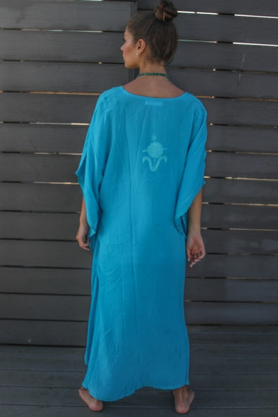 Kaftan - Kashmir Silk Butterfly in Blue