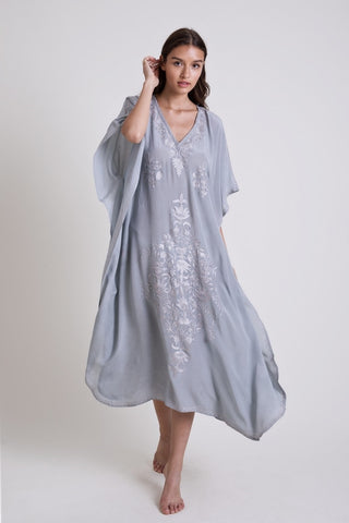 Kaftan - Kashmir Silk Butterfly in Gray