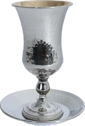 Kiddush Cup Hammered with Gold (Various Colors) - Chaya & Raphael's Galleries