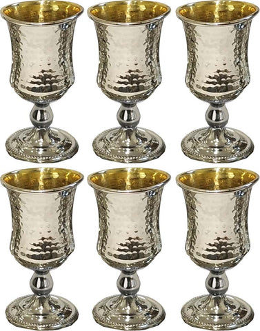 Kiddush Cup Hammered with Gold. Set of 6 small Cups (Various Colors) - Chaya & Raphael's Galleries