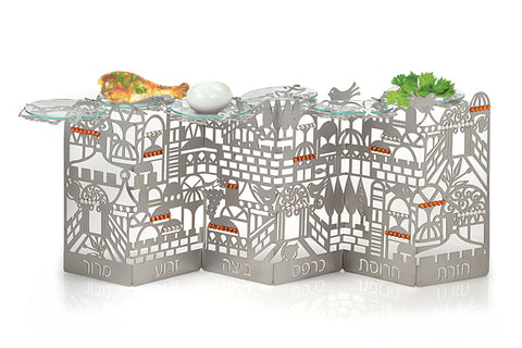 Seder Plate (Standing) - Decorated With Jerusalem Design and Crystal Stones