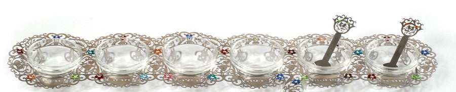 Seder Plate (Crystal) - Decorated and Long - Chaya & Raphael's Galleries