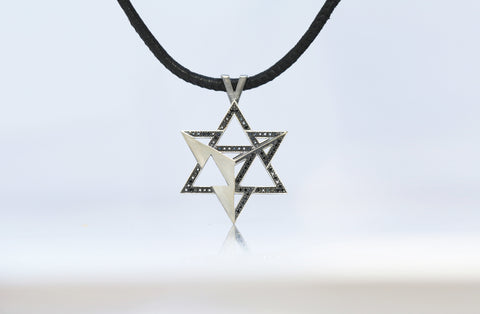 Merkavah Pendant set with Black Colored Diamond (Bleached) - Chaya & Raphael's, Israel