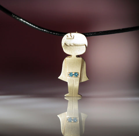 It's a Boy - A Boy Pendant set with Blue Colored Diamonds - Chaya & Raphael's Galleries