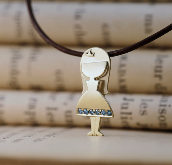 It's a Girl - A Girl Pendant set with Blue Colored Diamonds - Chaya & Raphael's Galleries
