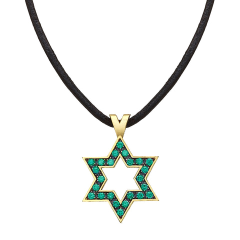 Star of David set with Emeralds