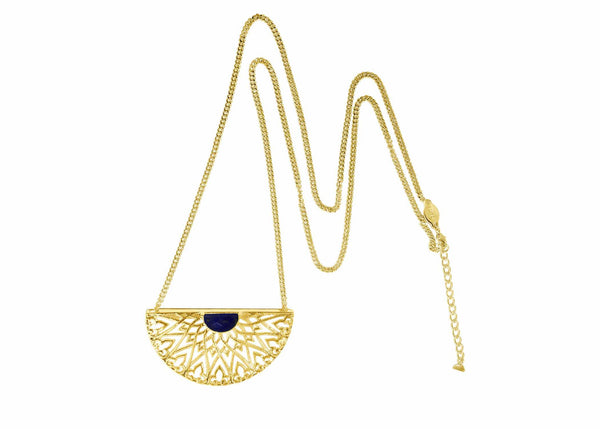 Prachi Bhise Jewelry- Lucca large statement pendant necklace in Lapis