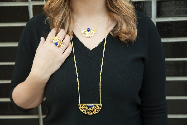 Prachi Bhise Jewelry Lucca large statement pendant necklace in Lapis