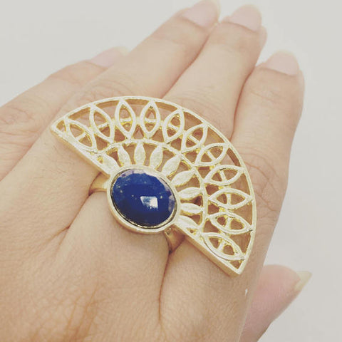 Lapis Ring, Prachi Bhise Jewelry, Cuff ring, Statement ring