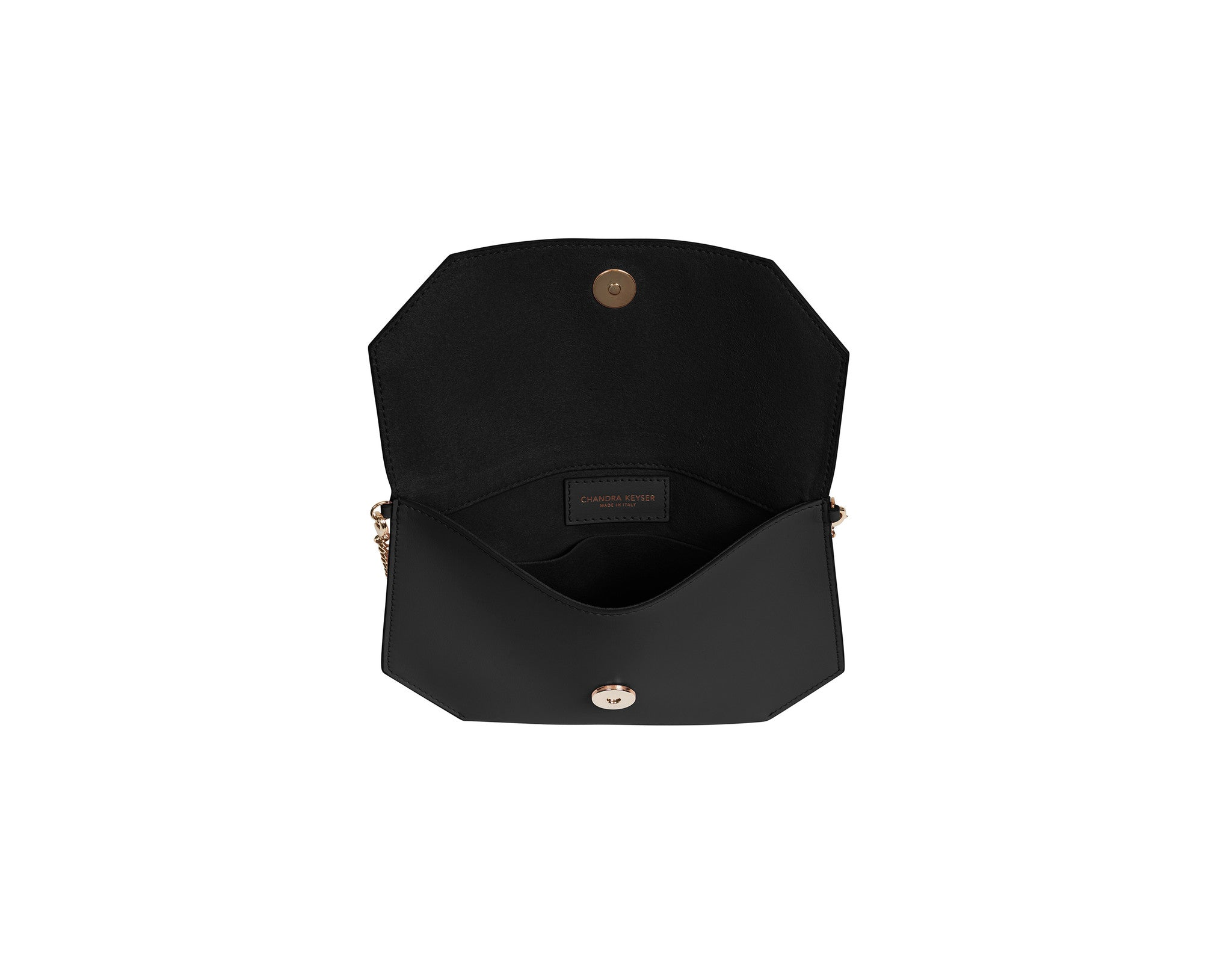 black evening bag inside view