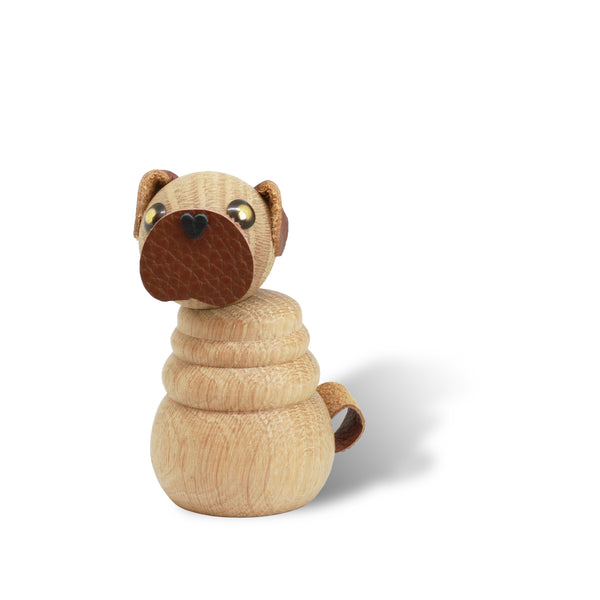 WOODEN Pug Puppy, Natural Oak