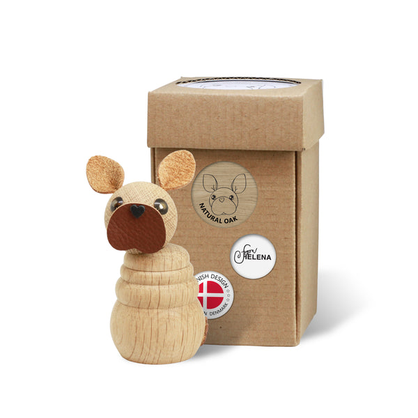 WOODEN Frenchie Puppy (Natural Oak) with included box for wrapping or storage