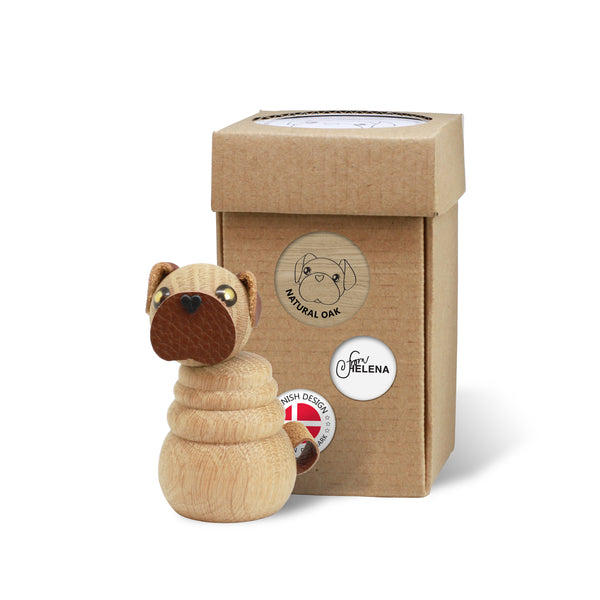 WOODEN Pug Puppy (Natural Oak) with included box for wrapping or storage
