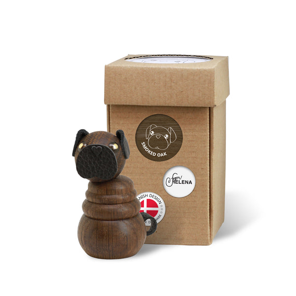 WOODEN Pug Puppy (Smoked Oak) with included box for wrapping or storage