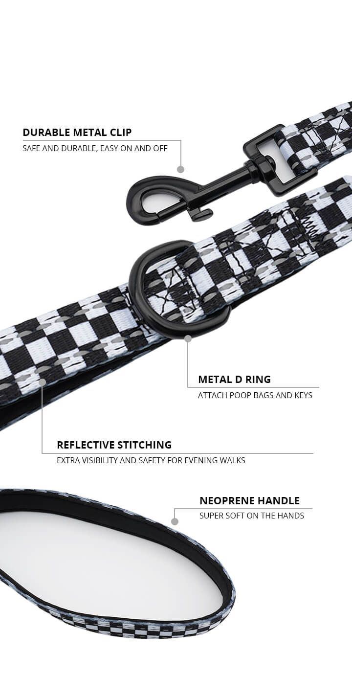Black and White Checkered Dog Leash