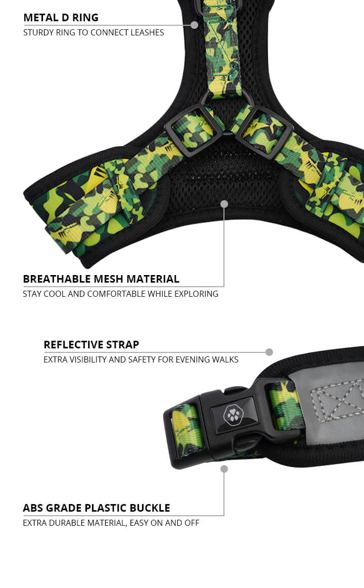 Green Camo Shark Monster Dog Harness