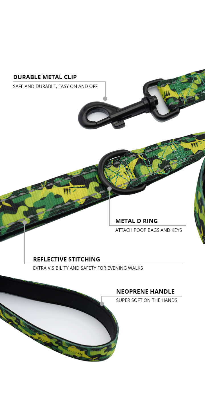 Green Camo Shark Monster Dog Leash