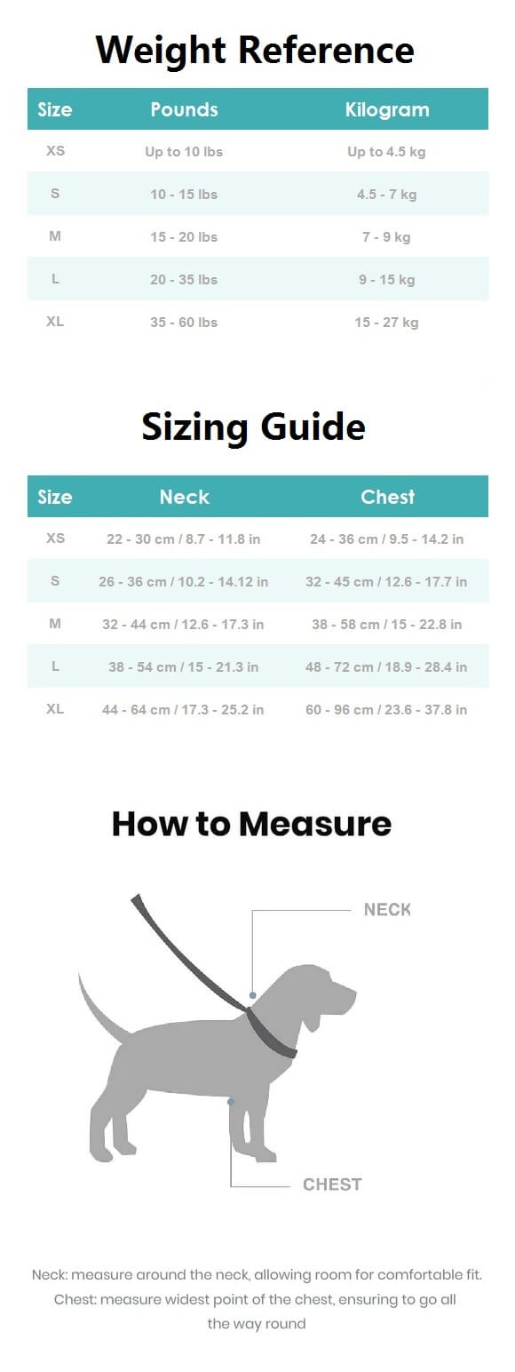 Mesh Dog Harness Sizing Guide