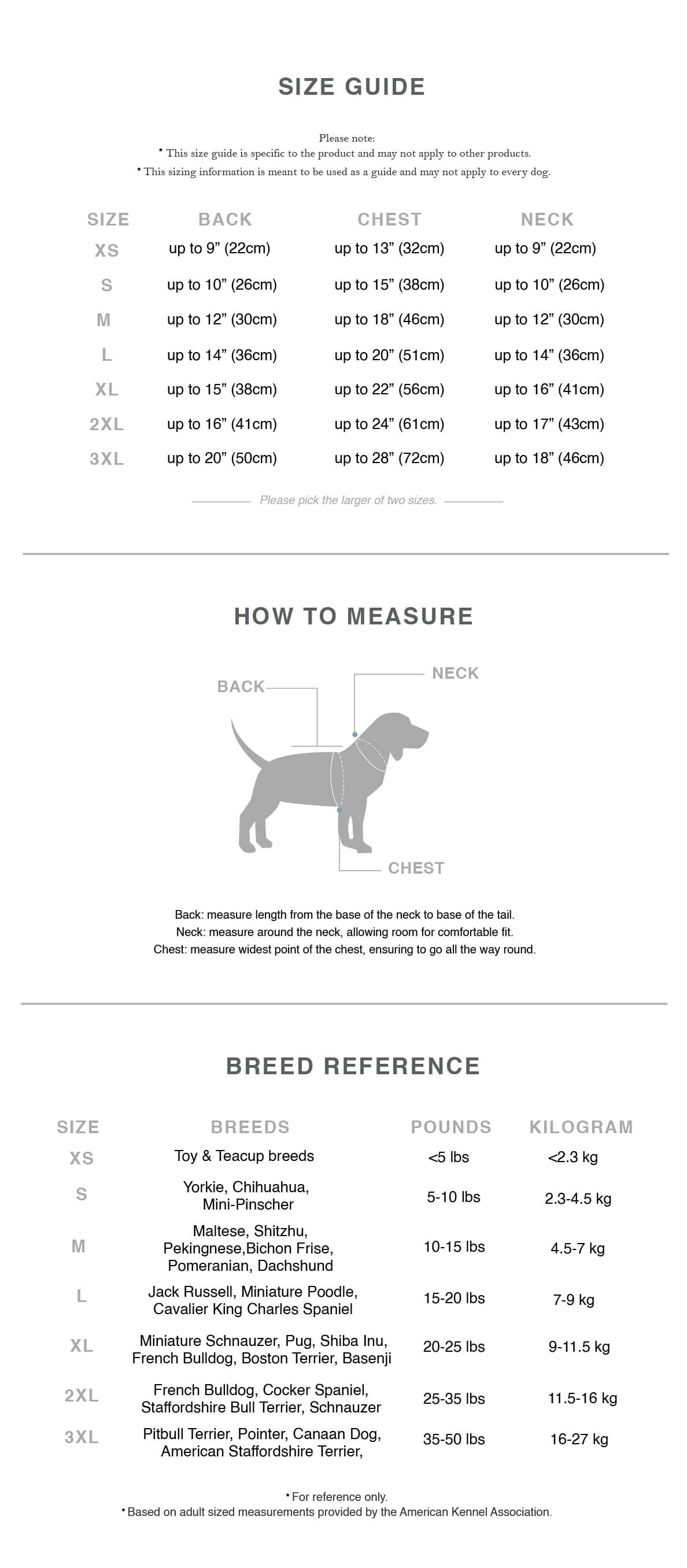 dog clothes size guide