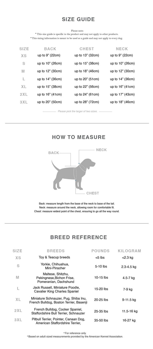 dog clothes sizing guide