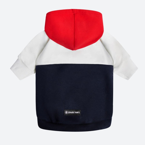 Red, White, Navy Dog Hoodie