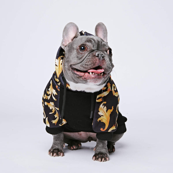 Royal Dog Hoodie - Black & Gold