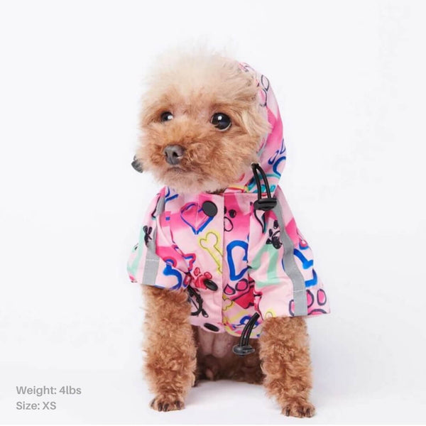 Graffiti Art Reflective Dog Raincoat