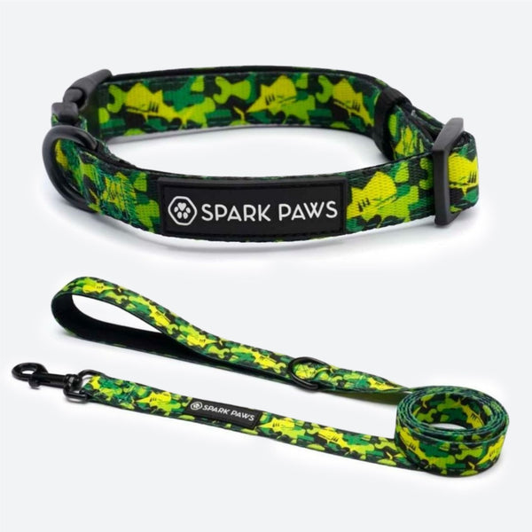 Green Shark Camo Leash & Collar Set