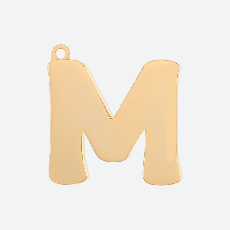Gold Dog Tags Letter M