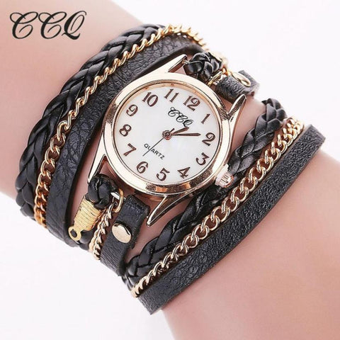 CCQ Luxury Brand Vintage Leather Bracelet Watch Men Women Wristwatch Fashion Casual Analog Ladies Womens Watches Relogio