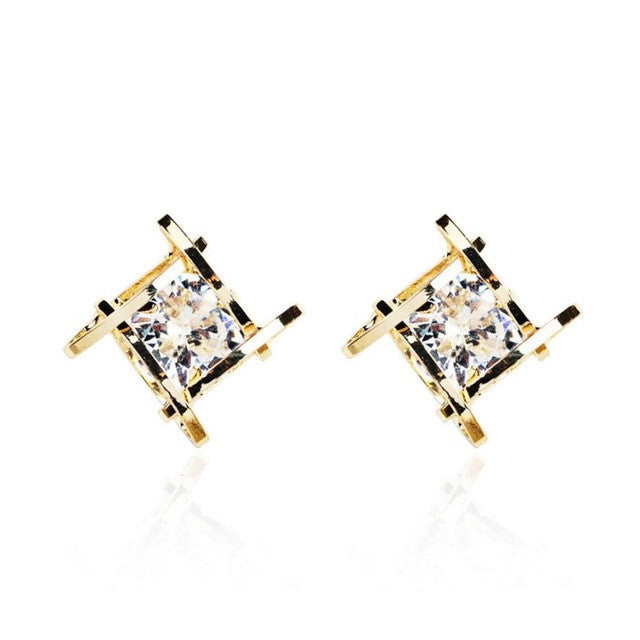 SUSENSTONE Square zircon earrings Women Hollow Out Square Zircons Earrings Ear Studs women earrings fashion earrings for women