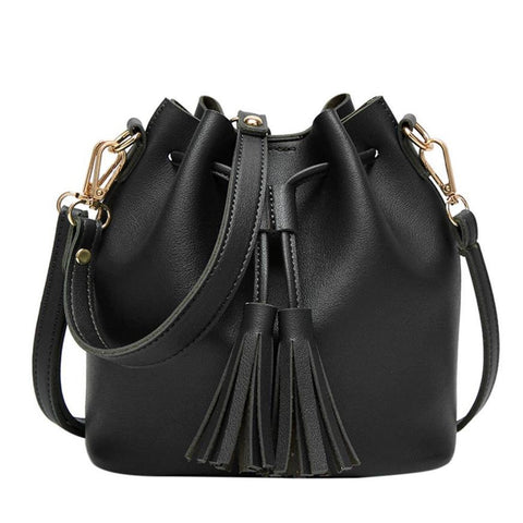 Xiniu Women Leather Drawstring crossbody bags for women 2017 luxury Tassels Bucket Bag bolsa feminina #5M