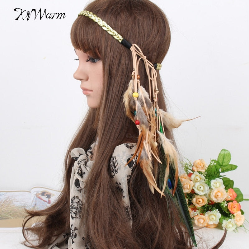 Native American Indian Artificial Feather Headband Headpiece Headdress Hair Accessories Jewelry