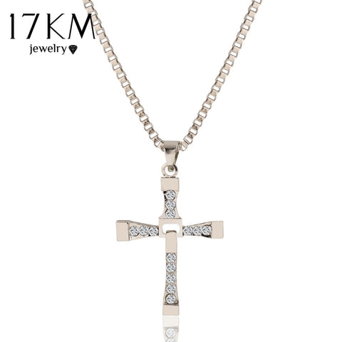 17KM The Crystal Cross Men Necklaces & Pendants Fashion Silver Color Maxi Steampunk Collares Vintage Statement Necklace