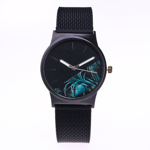 Woman Watch 2017 New Fashion Floral Pattern Womens Watches Black Case quartz Watch Women Clock Female Relogio Feminino #23