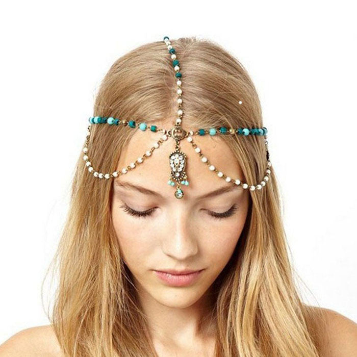 Women Metal Rhinestone Head Chain Jewelry Headband Head Piece Hairbands