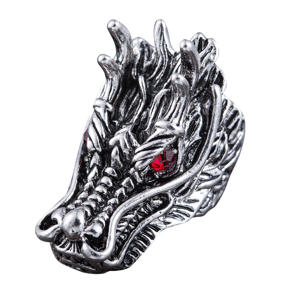 Dragon Head Rings For Men Punk Rock Style Red Stone Rings Party Jewelry