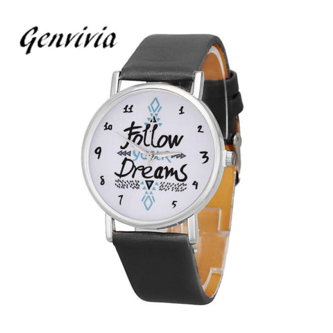 Simplelee 2017 womens watches fashion With Follow Dreams Words Pattern Round Quartz Watches With PU Leather Watch#LD