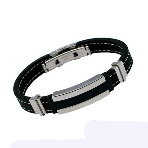 Men Stainless Steel Rubber Bracelet