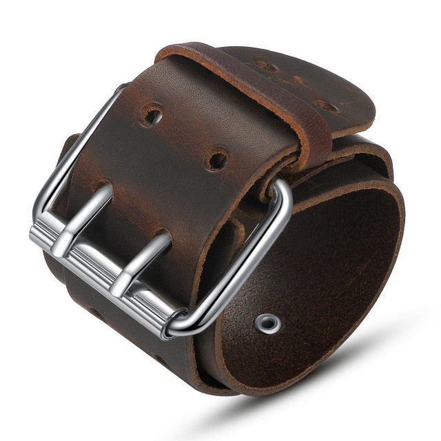 BAMOER Wholesale 2 Color Big Wide Genuine Leather Bracelet With Alloy Clasp Fashion Men Bracelets Jewelry PI0338-2